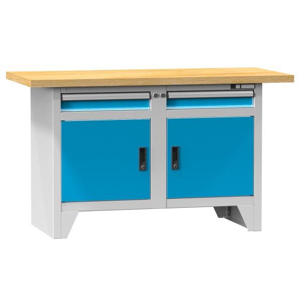 Kompaktwerkbank mit 2 Schubladen, 2 Türen und 2 Fachböden