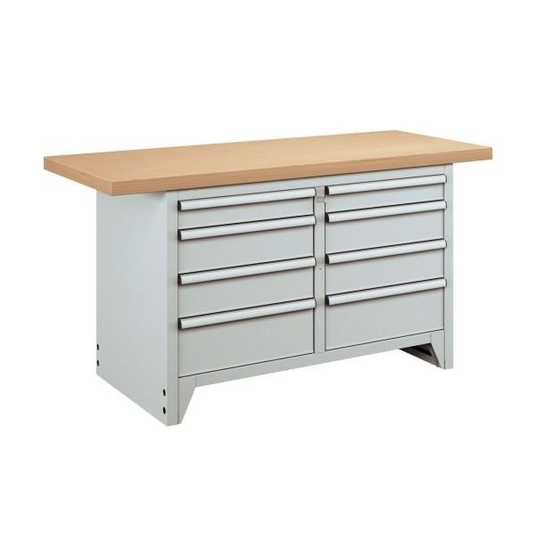 Stabile Kombiwerkbank mit insgesamt 8 Schubladen, stabile Ausführung