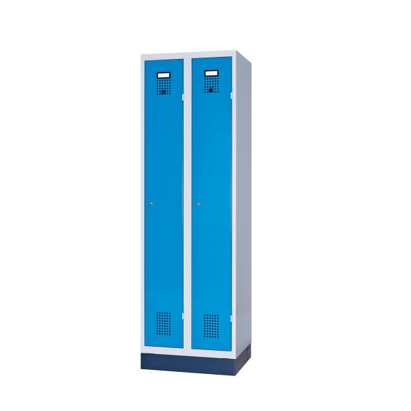 Garderobeschrank 2 Abteile, Gehäuse und Türen RAL 7035