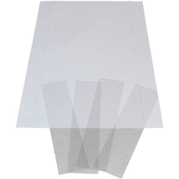 Etiketten zu Behälter 9073, 100 Stück A4, perforiert, mit PVC Folienstreifen