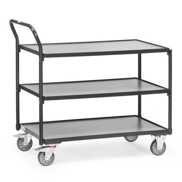 Tischwagen mit 3 Ebenen, Griff hochstehend, RAL 7016