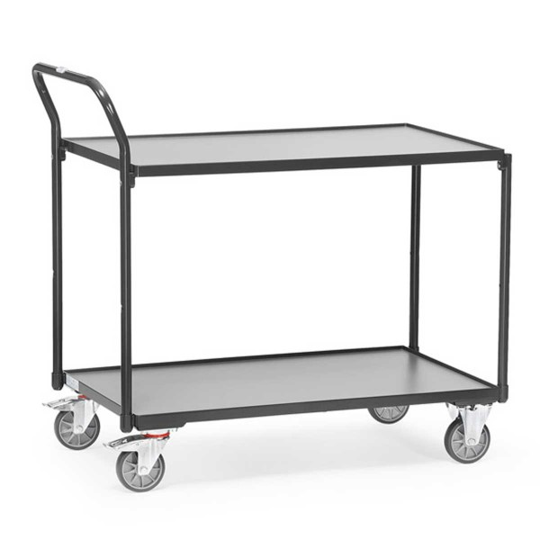 Tischwagen mit 2 Ebenen, Griff hochstehend, RAL 7016